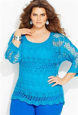 Plus Size Crochet Pullover Sweater image