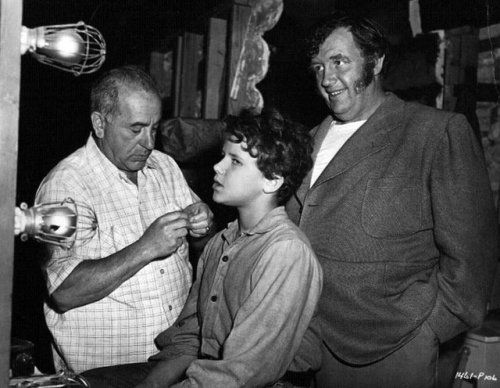 Tad sits in the make-up chair as his dad, Andy Devine, looks on.  Canyon Passage (1946) Bizarre Los Angeles