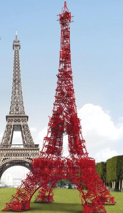 A replica of the Eiffel Tower built out of 324 chairs in the Champs de Mars until July 7.