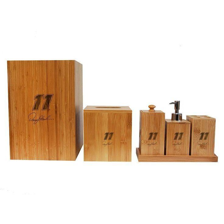 New Ball Denny Hamlin Piece Bamboo Bathroom Accessories Set