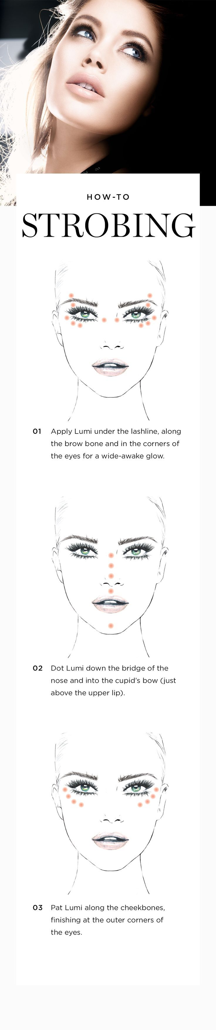 """""""Strobing"""" is the new contouring. To illuminate features for a glowy look, dot True Match Lumi Highlighter along cheekbones, down the bridge of the nose, below the brow bone and in the corners of the eyes. Blend with your fingers or dab with a sponge. 