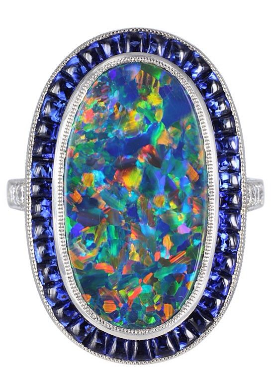 Lightning Ridge Black Opal and Sapphire Ring via Haute Tramp