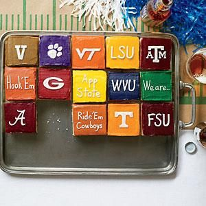 Celebrate the fun of football season!  Decorate each piece of your sheet cake with a unique team design.  #tailgate