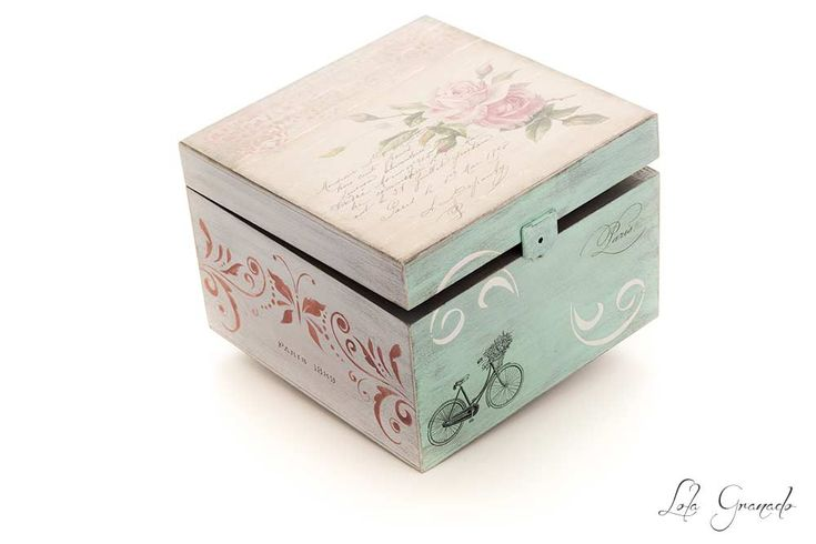65 best mis cajas images on pinterest wooden case roses - Cajas de madera pintadas a mano ...