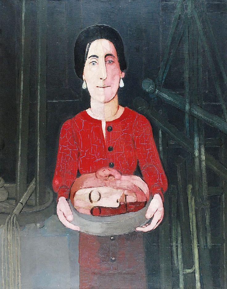 Kiejstut BEREŹNICKI (ur. 1935)  Salome z głową Jana Chrzciciela, 1974 olej, płótno; 100 x 80 cm; sygn., dat. i opis na odwrocie: Kiejstut Bereźnicki /