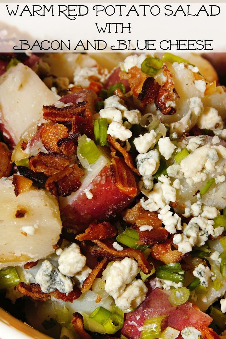 Warm Red Potato Salad with Bacon and Blue Cheese- a Southern side dish you will love! Thanks to For the Love of Food