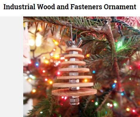 Put the metallic beauty of your favorite fasteners to work between wood  disks under Christmas tree - 16 DIY And Salvage Ornament Ideas Christmas Tree, Woods And Ornament