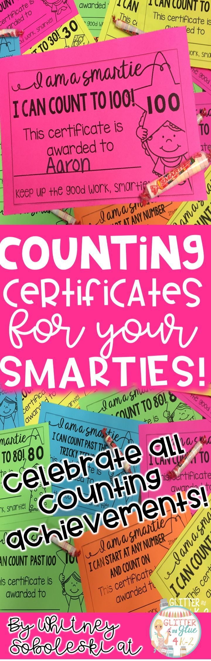 Motivate your little ones to reach oral counting goals with these certificates! Includes certificates up to 120 and for skip counting!  Keywords: oral counting, kindergarten, intervention, special education, special education teacher, counting, teaching counting, how to teach counting, student awards, student certificates, Astrobrights, math