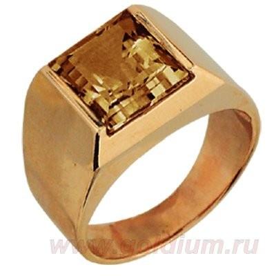 Мужской перстень печатка с гранатом из красного золота 585 пробы