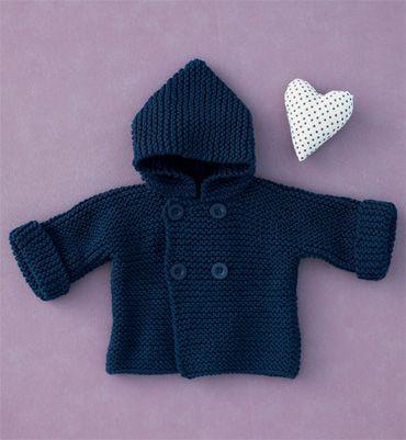 """Modèle paletot à capuche bébé - Modèles tricot layette - Phildar """"baltic"""""""