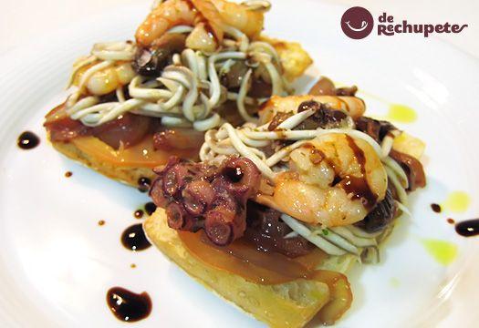 Receta de tosta de gulas, pulpo y langostinos - Recetasderechupete.com