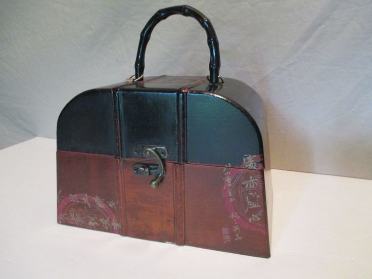 Wooden Handbag, Vintage Asian, Treasure Chest, Decorative Storage, Keepsake Box by HobbitHouse on Etsy