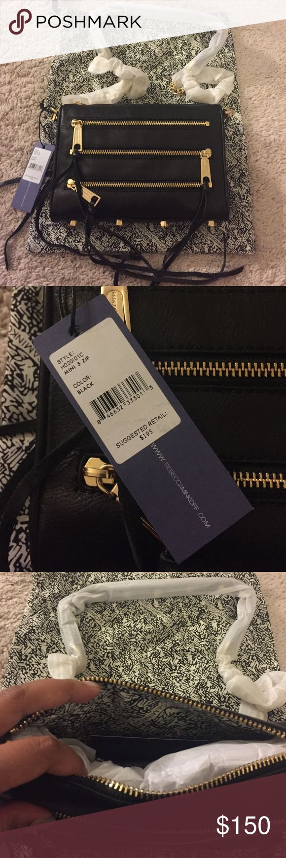 Rebecca Minkoff Mini 5 zip Black never been used gold hardware. Willing to negotiate but has to be reasonable. No low balling please and thank you Rebecca Minkoff Bags