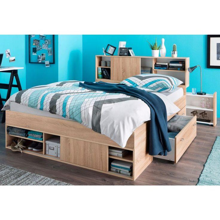 Cadre de lit 2 personnes + chevets à roulettes + tête de lit avec rangements   Lit rangement ...