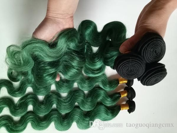 Fashion Womens Feather European Brazilian hair weft Indian Hair Extensions ombre Machine double weft 3 4 5Bundles Two Tone 1B/green
