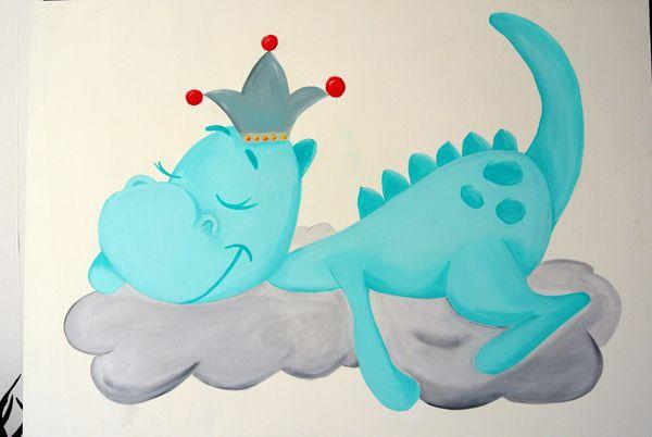 Draakje Dirk Muurschildering Voor Een Babykamer Www