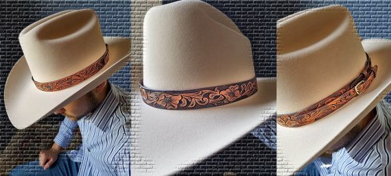 Hat Band Tooled leather - western floral design  f3f6c274a854