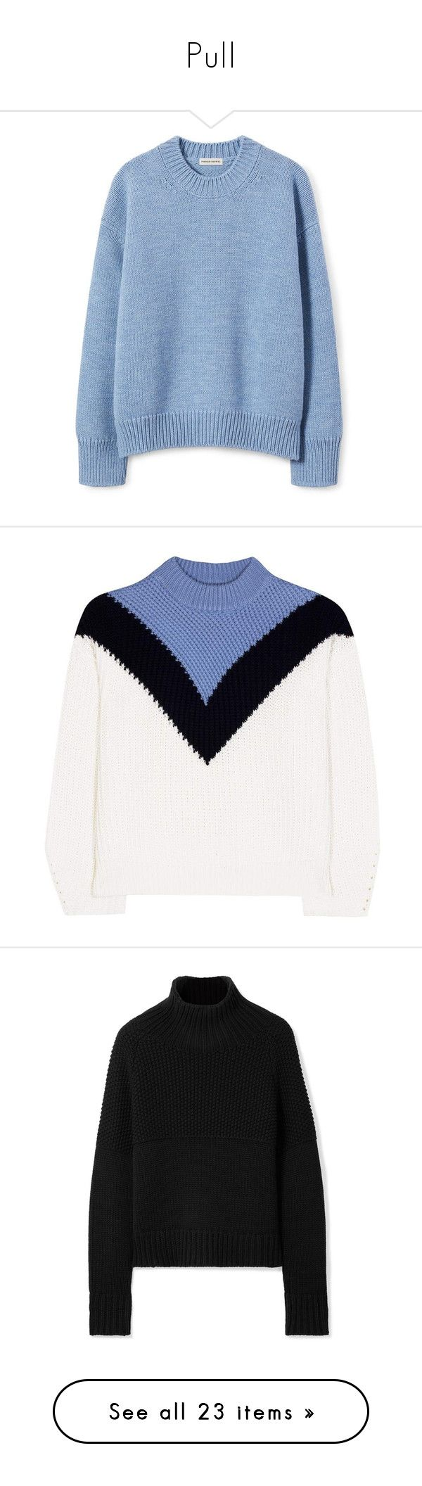 """Pull"" by eleonore-plot ❤ liked on Polyvore featuring tops, sweaters, blue oversized sweater, wool sweater, over sized sweaters, crewneck sweaters, crew sweater, long sleeves, white and blue"