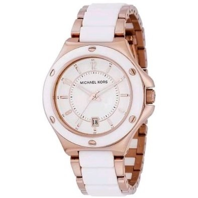 Michael Kors Watches Rose Gold with White Acrylic 3HD
