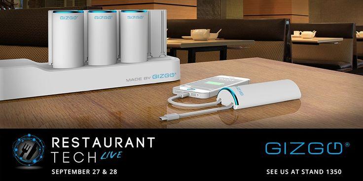 GIZGO @RESTAURANTTTECH LIVE LAST MONTH displaying their range of charging solutions for restaurants