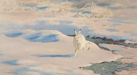 Artwork by Bruno Liljefors, Hare in winter landscape, Made of Canvas
