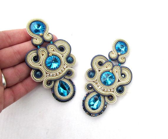 Unique Clip On Earrings Turquoise Gold Long от GiSoutacheJewelry