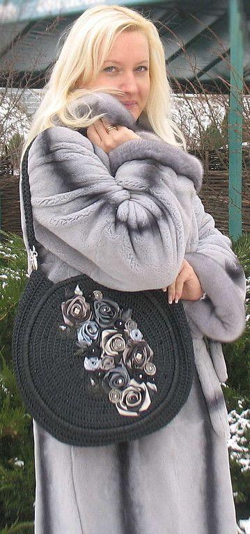 """Купить Сумка """"Этюд в черно-серых тонах"""" - авторская сумка, вязаная сумка, зимняя сумка"""