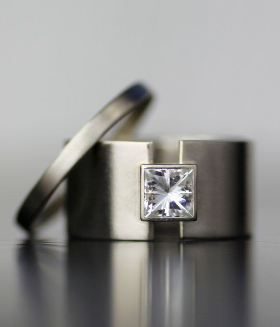 princess moissanite wide band alternative engagement by lolide