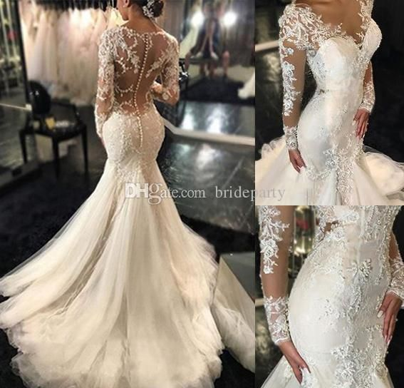 Gorgeous Sheer Long Sleeves Wedding Dresses Sexy V neck Lace Embroidery Applique Tulle Mermaid Bridal Gowns 2019 New Arrival