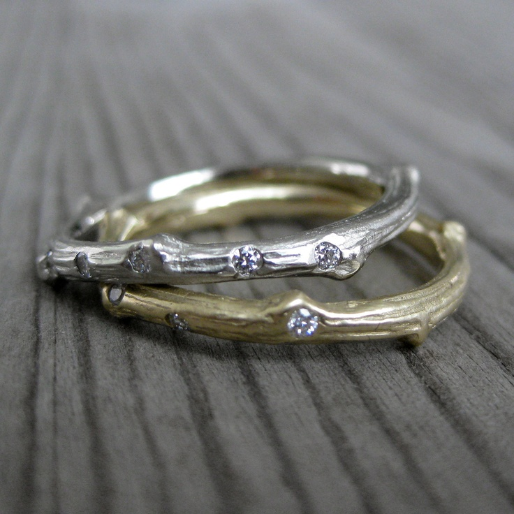 Scattered Diamond Twig Wedding Band, Recycled Gold, 2mm. $620.00, via Etsy.