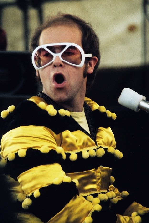 And bumblebee Elton. | The 28 Most Flamboyant Elton John Stage Costumes Ever