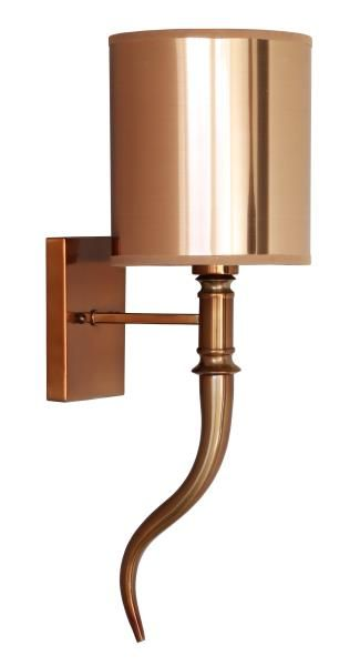 Light & Living MAIA Shade with Horn Wall Sconce MAIA Rose Gold Sheer Shade with Dark Copper Horn ...