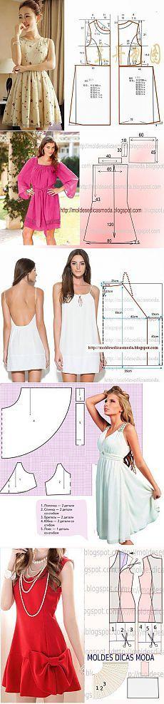 Los modelos simples para vestidos de verano con patrones - Artesanía