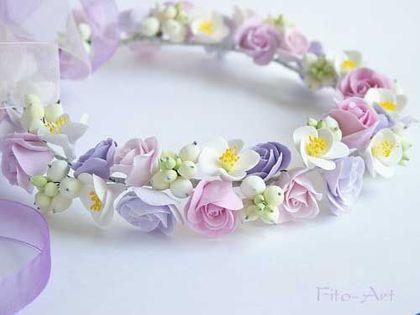 """Купить Свадебный венок """"Виолетта"""" - венок, цветы, сиреневый цвет, сиреневый, лиловый, нежно-сиреневый"""