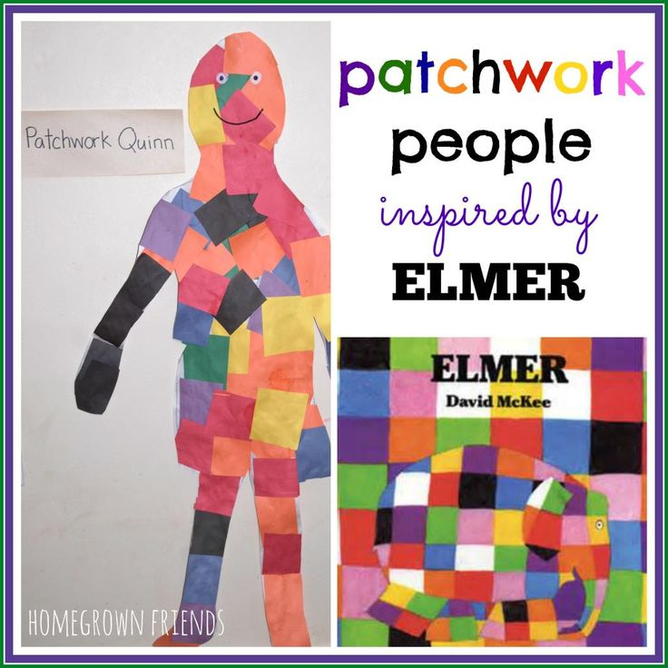 What a fun way to explore the book Elmer! Kids will love making these patchwork people!