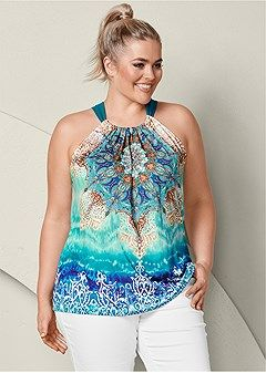 6a5103ab475 Shop women s plus size Embellished Print Halter and find the perfect fit  every time. Order online or call an expert  1-888-782-2224.
