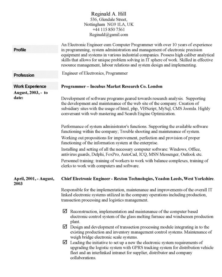 Professional curriculum vitae samplescareer resume