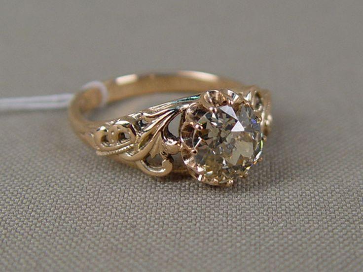 Антиквариат. антикварное золотое Кольцо, золото 585 пробы, бриллиант
