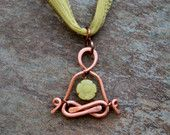 yoga jewelry,  Flower Power Yogi pendant, Jade, meditation, Lotus, gyan mudra, zen, painted silk,  heart chakra, green, lemurian diamond