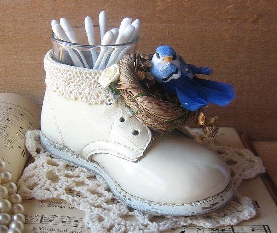 Rustic Cream Bird Nest Baby Shoe Holder by happybdaytome on Etsy, $22.00