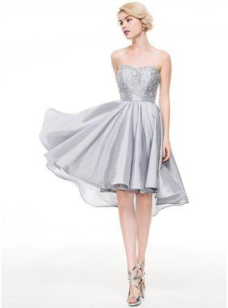 A-Line/Princess Sweetheart Asymmetrical Taffeta Cocktail Dress