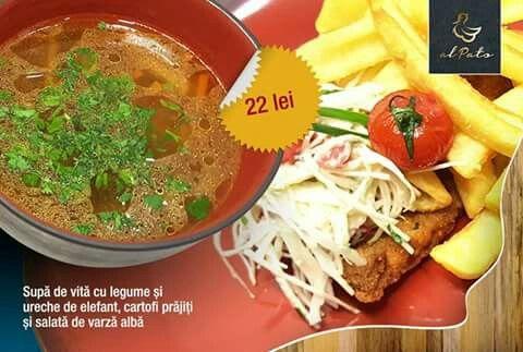 Dacă nu ştiţi cu ce să începeţi, vă recomandăm noi combinația zilei de astazi: Supa de vita cu legume si ureche de elefant, cartofi prajiti si salata de varza alba