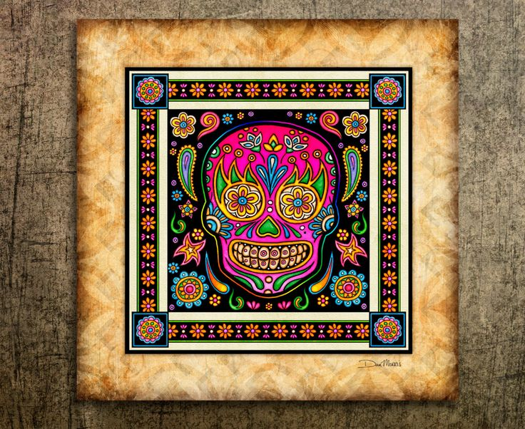 Sugar Skulls Art Print by Artist Dan Morris. Day of the Dead, All Saints Day, Sugar Skull decor,skull decor by DanMorrisArt on Etsy https://www.etsy.com/listing/204408036/sugar-skulls-art-print-by-artist-dan