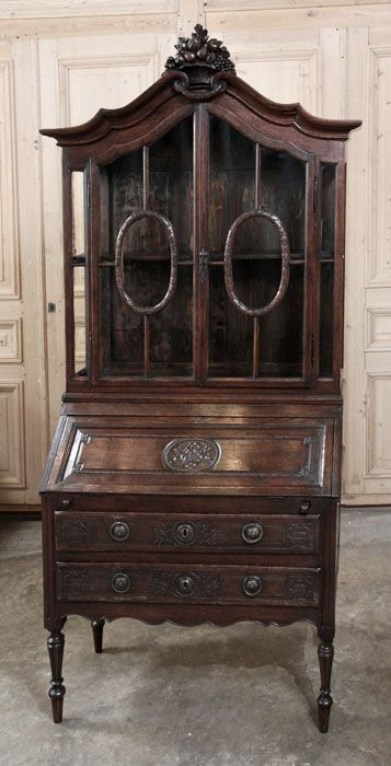 Antique Country French Secretary / Bookcase | Antique Desks/Secretaries | Inessa Stewart's Antiques | www.inessa.com