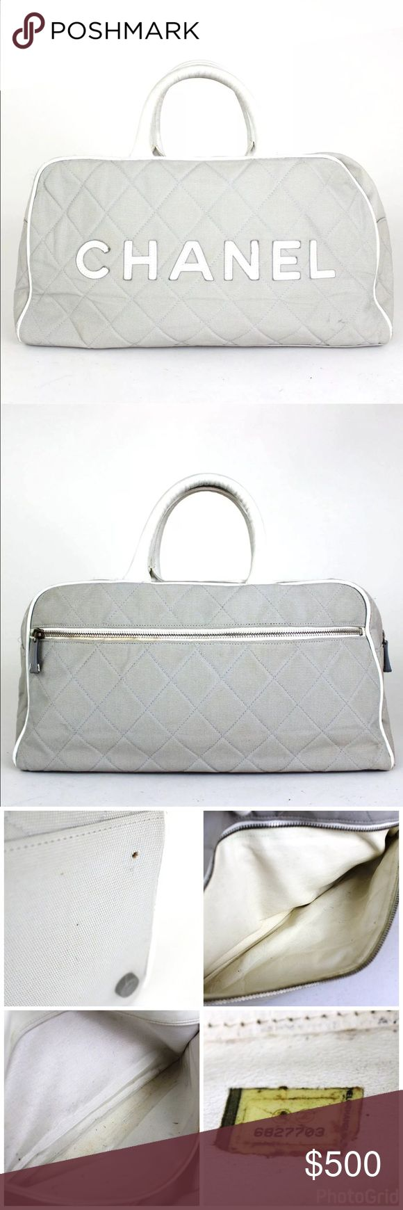 "CHANEL Mini Boston Bag, Hand Bag Brand: CHANEL  Item Description: Mini Boston Bag, Hand Bag  Made in: Italy  Material: Canvas, Leather  Color: Gray, White  Model: Sports Line   Serial number: 6827703  Size(cm): H 20cm W 37cm D11 cm  Size(inches): H 7.87"" W 14.57"" D 4.33""  Handle size(cm): 27cm  Handle size(inches): 10.63""  Attachment: None CHANEL Bags Travel Bags"
