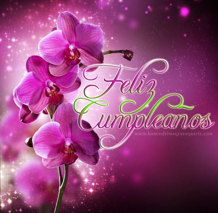 BANCO DE IMÁGENES: Feliz Cumpleaños con Rosas y Orquídeas - Postales con Mensajes y Felicitaciones para Familia y Amigos