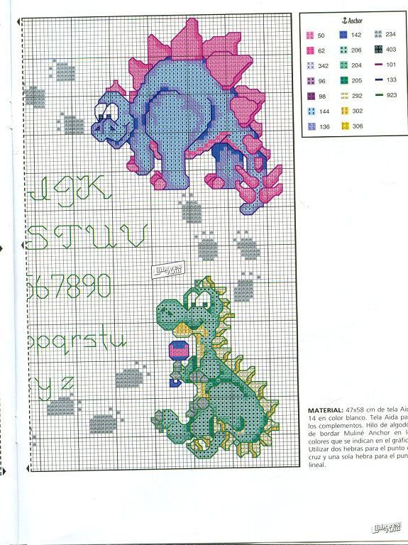 Baby Dinosaur M-376 MP Studia Counted Cross Stitch Kit