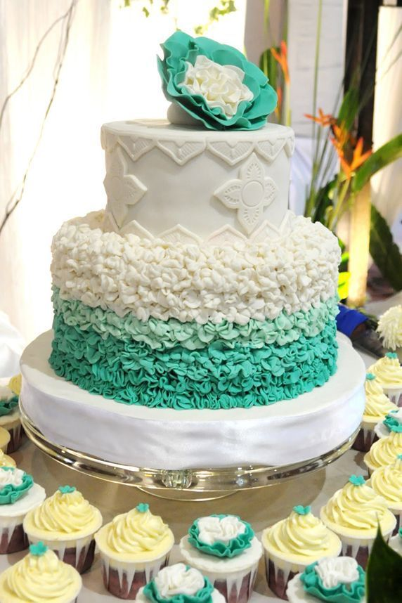 Turquoise Ombre Cake with Large Flower Topper