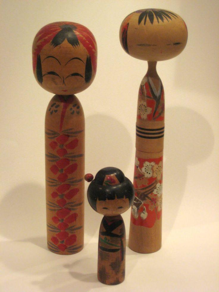 Antique Kokeshi Doll Family