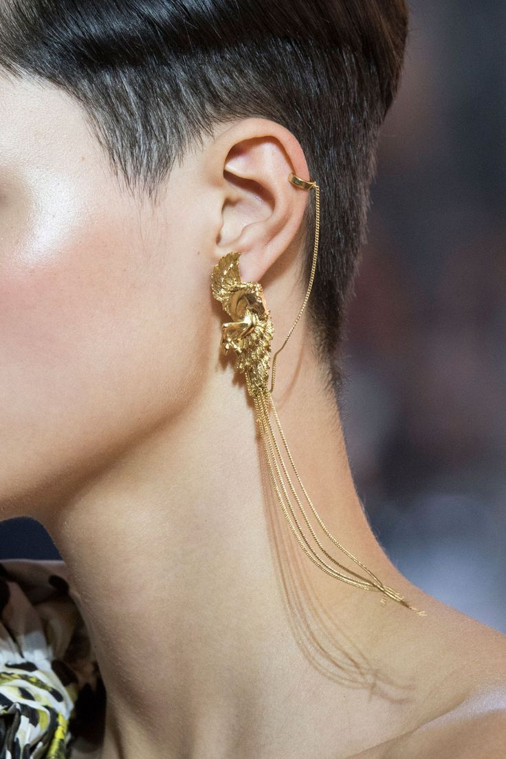 Roberto Cavalli at Milan Spring 2016 (Details) - Makeup, haircut, earring - everything! Yes, please.